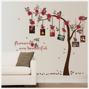 Jaamso Royals ' Photo frame family tree red flower ' Wall Sticker (PVC Vinyl 90 cm X 60 cm Decorative Stickers)