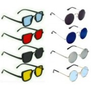 INSH Round, Rectangular Sunglasses(Black, Red, Yellow, Blue, Silver, Green)