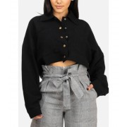 CheapChic Cotton Long Sleeve Button Up Black Crop Top W 2 Front Pockets Multicolor