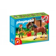 Playmobil Shire Horse with Groomer and Stable, Multi Color
