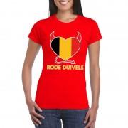 Bellatio Decorations Rood Belgie rode duivels hart shirt dames