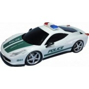 Masinuta de Politie Ferrari 458 Italia cu telecomanda 25 cm 4 directii lumini functionale alb-verde