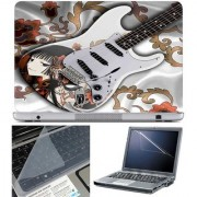 Finearts Laptop Skin White Guitar With Screen Guard And Key Protector - Size 15.6 Inch