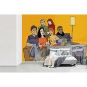 Fotobehang vinyl - Illustratie van een vriendengroep die samen televisie kijken breedte 550 cm x hoogte 400 cm - Foto print op behang (in 7 formaten beschikbaar)