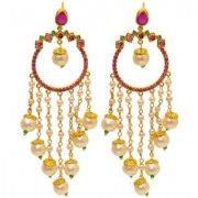 Jewar Mandi Earring Kundan Pearl Polk Gold Plated Look Ad Cz Gemstones Dangle Jhumka/Jhumki Jewelry for Women Girls 8259
