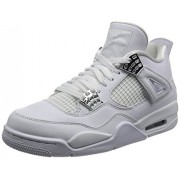 "NIKE NIKE Jordan Retro 4 ""Pure Money"" White/Metallic Silver (9. 5 D(M) US)"