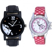 Black Dial Goal Achived Art And Pink Flowers Couple Analogue Watch By Vivah Mart
