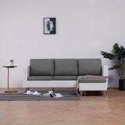 vidaXL 3-местен диван с възглавници, бял, изкуствена кожа