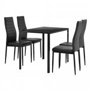 [en.casa] Juego de comedor moderno mesa negra + 4 sillas negras