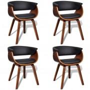 vidaXL Комплект модерни столове за хранене от изкуствена кожа и дърво, 4 броя