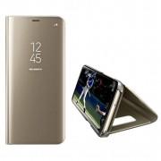 Husa Telefon Samsung Galaxy J6+ Plus (2018) - Flip Mirror Stand Clear View Auriu