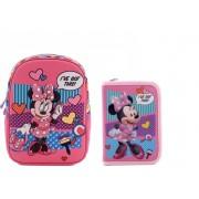 "Ghiozdan gradinita 12.5"" , 3D - Minnie Mouse Pink + Penar"