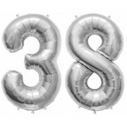 De-Ultimate Solid Silver Color 2 Digit Number (38) 3d Foil Balloon for Birthday Celebration Anniversary Parties