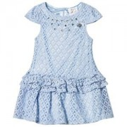 Le Chic Le Chic Blue Crochet Lace Party Dress with Jewel Detail 110 (4-5 years)