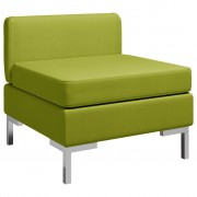 vidaXL Модулен среден диван с възглавница, текстил, зелен