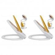 vidaXL Sièges de toilette et couvercles 2 pcs Plastique Blanc et jaune