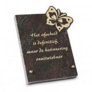 Gedenksteen 18x22cm met Vlinder: Het afscheid is definitief — Jasberg / Goud (nacalculatie) / Voorbeeld tekst