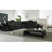 items-france NEW YORK - Canape cuir 6 places + 2 reposes pieds 337x273