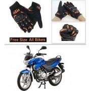 AutoStark Gloves KTM Bike Riding Gloves Orange and Black Riding Gloves Free Size For Bajaj Discover 100 DTS-i