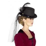 Smiffy's 48413 Deluxe Ladies Victorian Top Hat, Black, One Size