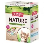 Smíšené výhodné balení Schmusy Nature Balance Kitten 12 x 100 g - telecí, drůbeží, těstoviny a psyllium s lososem, jehněčí, rýže a rybí olej