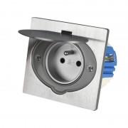 Podlahová zásuvka HBF 135141, broušený hliník, IP44, 16A