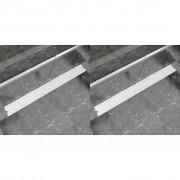 vidaXL 2 db lineáris acél buborék zuhany lefolyó 1030 x 140 mm