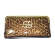Pin to Pen Casual Gold, Brown Clutch