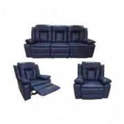 Set Piele Naturala Ackerley Blue Canapea 3 locuri cu 2 reclinere manuale si fotolii cu recliner manual