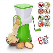 SELL ON 6 in 1 Rotary Slicer Grater and Shredder for Vegetables Fruits Dry-Fruits Drum Grater for Kitchen with Stainle