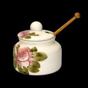 V.K.44-30-01 Romantik rózsás méztartó kicsi,csurgatóval,kerámia,kézzel festett