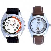 Orange Black Multi Dial And Brown Peacock Feathers Colour Couple Casual Analogue Watch By Vivah Mart