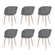 vidaXL Jídelní židle 6 ks šedé plastové sedáky, ocelové nohy