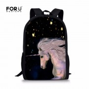 FORUDESIGNS Mysterious Unicorn Schoolbag for Boy and Girl Primary School Backpack Fashion Notebook Bag Satchel Child Soft Strap