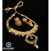 Blings Biru Yellow Gold Multilayered Chain Necklace Set With Jhumka Earings