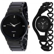 IIK Collection Round Dial Black Metal Strap Glory Analog watch For Men And Women Combo With Black Chain