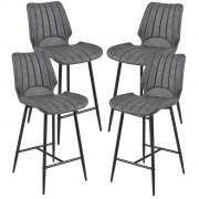 [en.casa]® Комплект от 4 броя бар стола , 102,5 x 46,5 x 51 cm,Тъмносив, Еко кожа