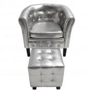 vidaXL Fotel z podnóżkiem, srebrny, sztuczna skóra