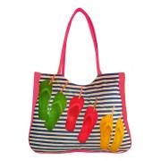 Flops textilní taška na pláž růžová
