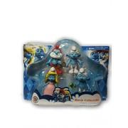 The Smurfs Movie Colelctible 4 Pack includes Papa Smurf, Dressy Smurfette, Vanity Smurf, Grumpy Smurf