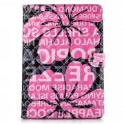 Caso protector de la PU con el soporte? ranuras para la tarjeta para IPAD AIR 2 - color de rosa + negro
