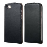 Black Apple iPhone 7 Plus Vertical Flip Genuine Split Leather Case