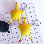 AST Works Rubber Squeeze Chicken Laying Egg Keychain Stress Relief Keyring Anti-Depressing
