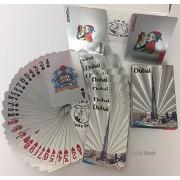 Silver Foil Coated PLAYING CARDS FULL POKER DECK Gift Dubai Skylines Burj Khalifa Design+ free Lucky Donk sticker