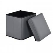 Сгъваема табуретка с място за съхранение [en.casa]® ,30cm x 30cm x 30cm, Сива