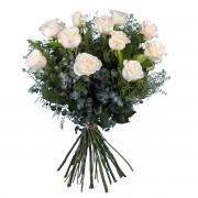 12 Rosas Blancas de Tallo Largo - Flores a Domicilio