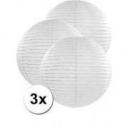 Geen Luxe bol lampionnen wit 3x stuks van 50 cm