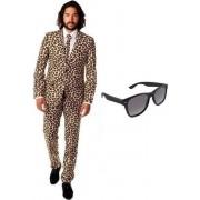 Heren kostuum / pak met luipaard print maat 50 (L) - met gratis zonnebril