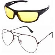 Barbarik Wrap-around, Aviator Sunglasses(Clear, Yellow)