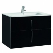 Set mobilier Gala Cuarzo negru lucios cu doua sertare si lavoar Gala Emma -7902202